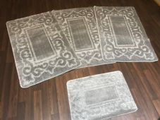 ROMANY WASHABLES TRAVELLER MATS SET NON SLIP SUPER THICK SILVER/GREY NEW DESIGNS